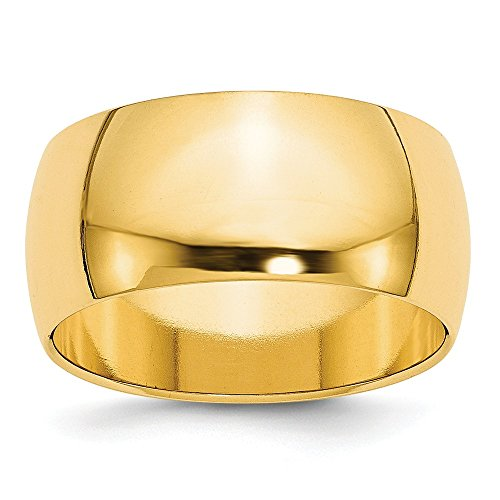 14k Yellow Gold 10mm Half Round Wedding Ring Band Size 6 Classic Fine Jewelry Gifts For Women For Her