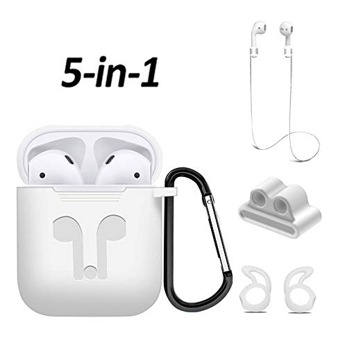 Airpods Case, Mapoo Airpods Accessories Kits, 5 in 1 Protective Silicone Cover and Skin with Ear Hook, Anti-Loss Strap, Watch Band Holder and Keychain for Apple Airpods Charging Case(White)