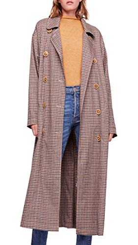 Free People Womens Melody Plaid Casual Trench Coat Beige M