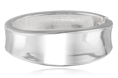 Kenneth Cole New York Bangle Bracelet - Kenneth Cole New York Shiny Metals Silver Sculptural Hinged Bangle Bracelet, 7.5