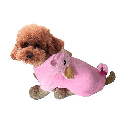 Genda 2Archer Pet Halloween Costume Dog Apparel Hood with Warm Fleece Pink Pig (S) -