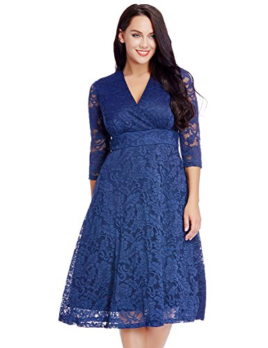 LookbookStore Women's Plus Size Royal Blue Lace Bridal Formal Skater Dress 28W