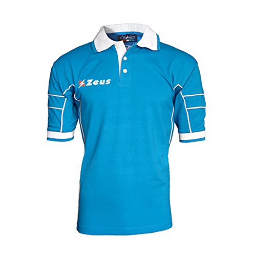 Zeus Herren Polo Shirt Training Fußball Fitness Sport POLO KELLER ROYAL WEISS (L)