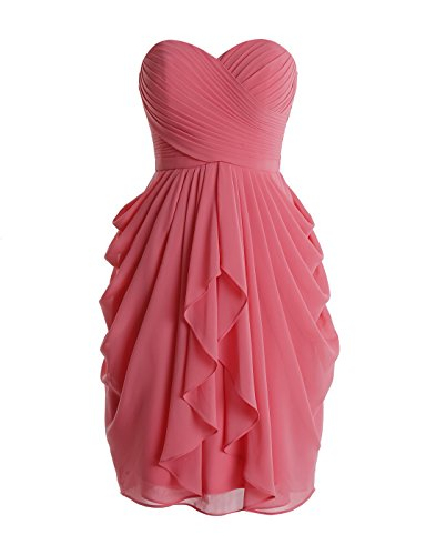 Wedtrend Women's Sweetheart Ruched Bridesmaid Dress Short Prom Gown WT10110CoralSize16