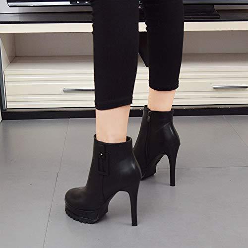 LBTSQ-Ultra-High-Heels Mode Stiefel High Heels Mit Kurze Läufe Frauen-Stiefel 11Cm Mit Heels Dicken Sohlen Wasserdicht Runden Kopf Nackt Stiefel Ladies'schuhe f1a414