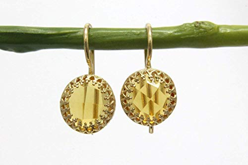 Beautiful 14K Gold Citrine Earrings By Anemone Jewelry - Gold Earrings For Women's Casual Wear & For Special Occasions - Free Fancy Earrings Box Included [Handmade Jewelry]