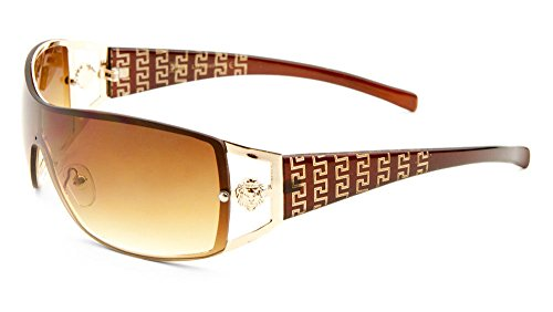 [Kleo Lion Head Medallion Greek Key Wrap Around One Piece Sunglasses (Brown & Gold, Brown)] (Gold Wrap Around Sunglasses)