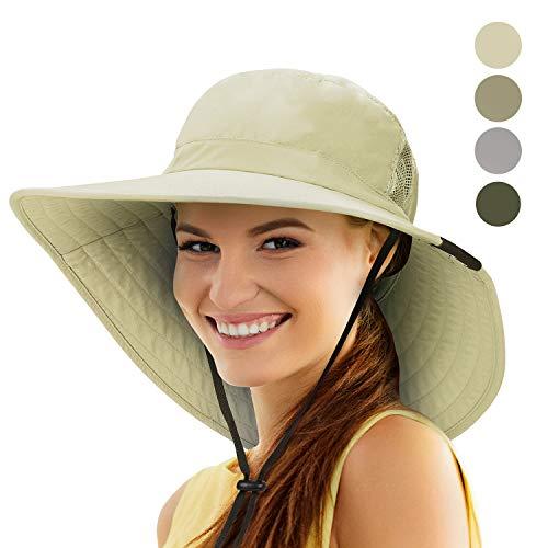 (Tirrinia Unisex Sun Hat Fishing Boonie Cap Wide Brim Safari Hat with Adjustable Drawstring for Women Kids Outdoor Hiking Hunting Boating Desert Hawaiian, Tan)