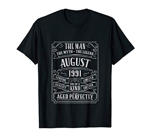28th Birthday August 1991 Men Gifts 28 Year Old Son Nephew T-Shirt