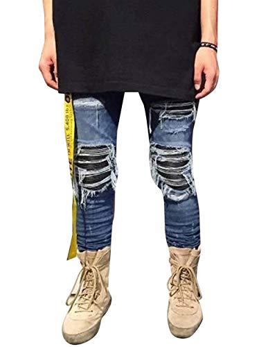 Vintage Skinny Uomo Pantaloni Abbigliamento Casual Strappati Fit Jeans Da Moda Blau Slim wXTUFq8q