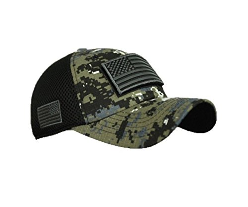 90210 Wholesale USA American US Flag Baseball Cap Patch Trucker Tactical Army CAMO Hat Hunting (Digital City Camo) ()