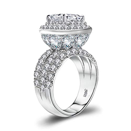 LSOOYH Womens Cluster Engagement Cubic Zirconia with Crystal Architecture Ring Platinum Plated Love Bridal Fashion Jewelry Stores (Size 6 7 8 9 10) (6)