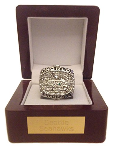 Seattle Seahawks Super Bowl Ring - Russell Wilson Replica with Engraved Display by Championship Rings