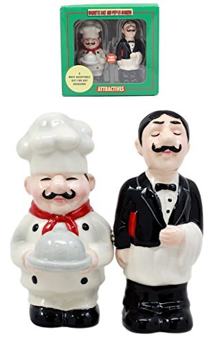 (Ebros Gift Food Service Head Chef And Waiter Salt & Pepper Shakers Ceramic Magnetic Figurine Set 4.25