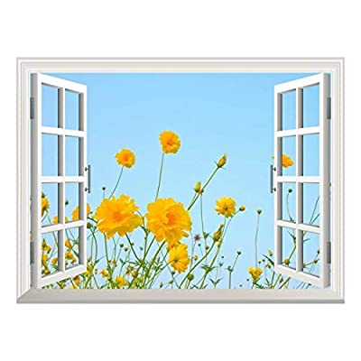 Removable Wall Sticker/Wall Mural - The Cosmos Flower Against Blue Sky | Creative Window View Home Decor/Wall Decor - 24