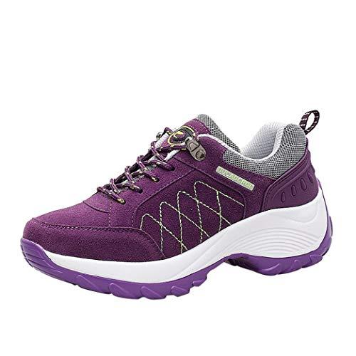 y para QinMM Running Libre Cordones Verano Gym Primavera Púrpura Zapatos Zapatillas otoño Calzado Deportes Aire con Mujer Plataforma SUtEYwgvq