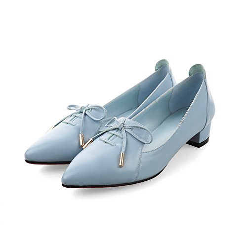 Womens AdeeSu Closure Leather Loafers Blue No Toe Pointed Comfort Casual Shoes SDC04980 ZZdqt4xr