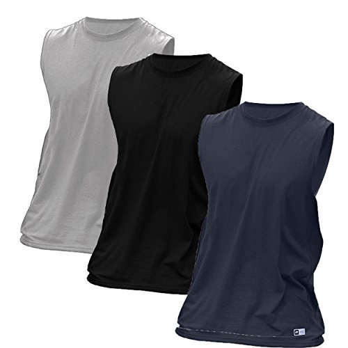 Russell Athletic Men's Essential Cotton Muscle T-Shirt, Pack of 3 (Black, Navy, Sports Grey, Medium) (Mens Top Athletic Russell Tank)