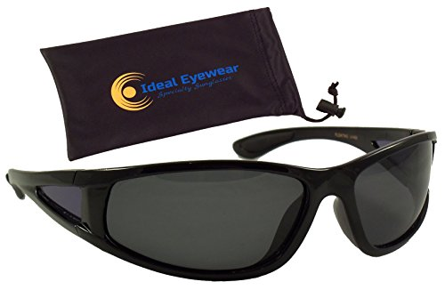 Ideal Eyewear Polarized Floating Sunglasses Great for Fishing, Boating, and Water Sports (Black Frame/Smoke Lens with Case)