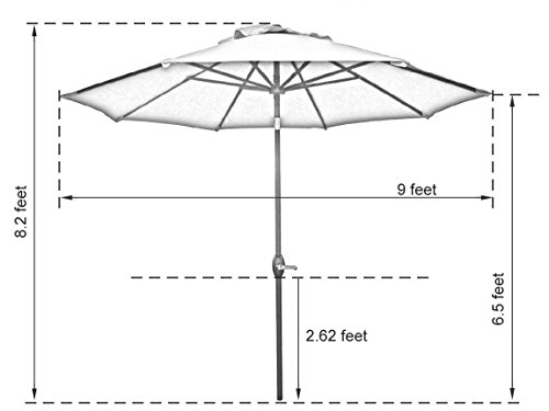Abba Patio Sunbrella Patio Umbrella 9 Feet Outdoor Market Table Umbrella with Auto Tilt and Crank, Beige by Abba Patio (Image #4)