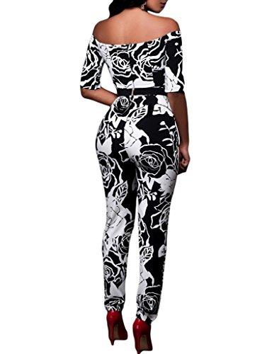 Sidefeel Women Off Shoulder Sleeves Rose Printed Jumpsuit With Belt Large Black 1