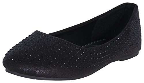 'Rugged Bear Girls Ballet Flats with Rhinestones, Black, Size 11' (Sparkly Dresses For Little Girls)