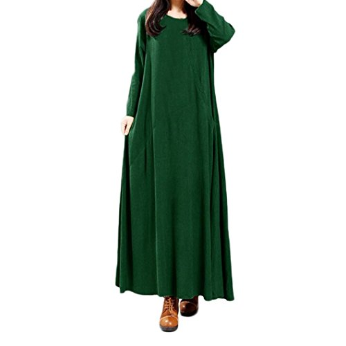 Spbamboo Women Plus Size Pure Color Pocket Cotton And Linen Loose Long Dress by Spbamboo