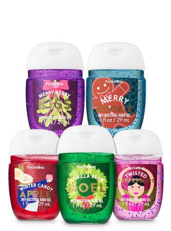 (Bath & Body Works 5 Pack Pocketbac Holiday Traditions Bundle Hand Sanitizers)