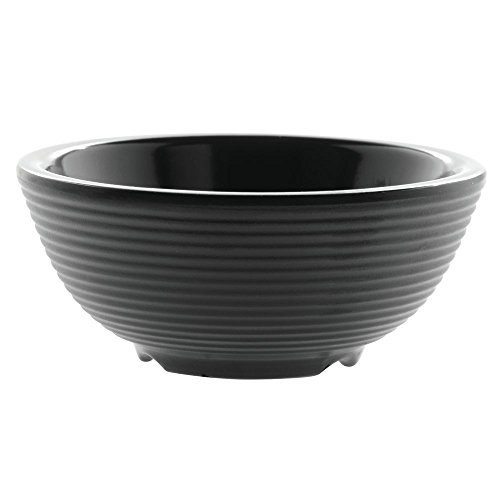 TableCraft Products RAM3RBK 3 oz./ 89 mL Ribbed Ramekin, Round, Black Melamine (Pack of 12) (Ribbed Ramekin)