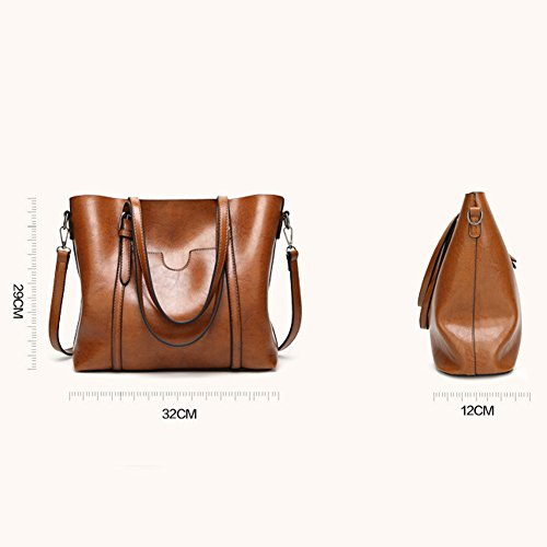 Bag Vintage Brown dames Women's Rose Tote Flada sac cuir en Casual d'épaule ZSagzFxq1