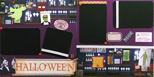Halloween Experiments (2) Scrapbook Pages Premade
