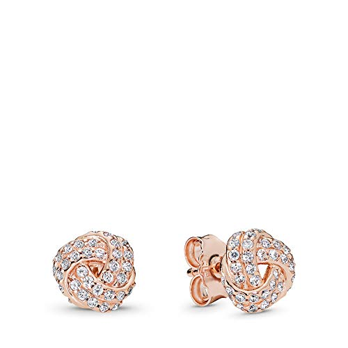 (PANDORA Sparkling Love Knot Stud Earrings, PANDORA Rose, Clear Cubic Zirconia, One Size)