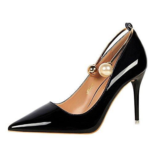 Perla Black Acentuado Delgado Individuales Zapatos Baja Tacón Charol Versión Boca Metal Fino Coreana Mujer nzxwqz1HUO