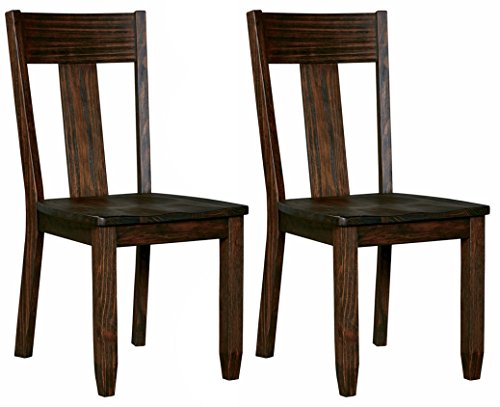 Ashley Furniture Signature Design - Trudell Dining Room Chair - 100% Pine Wood -  Set of 2 - Dark Brown