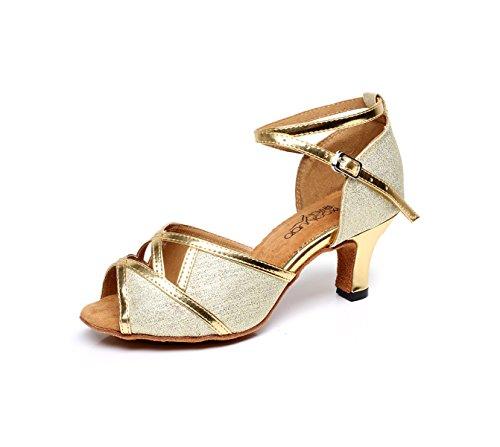 JSHOE Zapatos De Baile Sexy Para Mujer Latin Ballroom Salsa Tango Glitter Graphics,Gold-heeled6cm-UK6/EU39/Our40