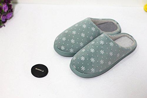 Home fankou pantofole gli uomini e le donne le coppie pantofole da camera neve invernale soft piano terreno caldo cotone pantofole ,38-39, verde