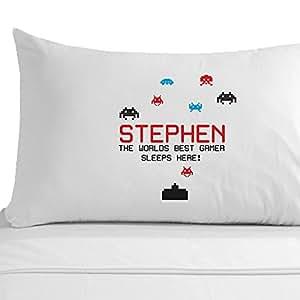 Personalizado Gamer regalo, 100% funda de almohada de algodón egipcio, funda de almohada space invaders, para videojuegos Accesorios de dormitorio, personalizable juegos de ordenador de regalo