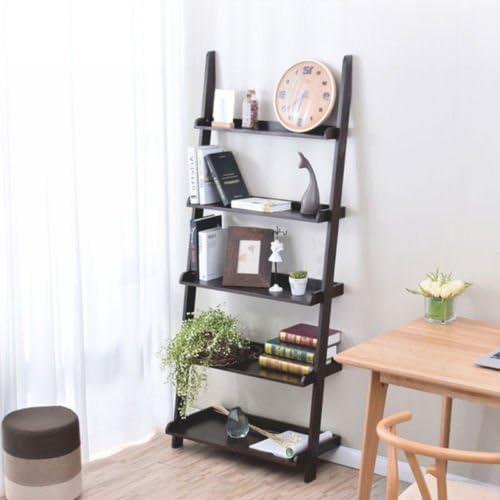 4 Tier Layer Metal Wire Leaning Ladder Bookcase Bookshelf Storage Incline Unit