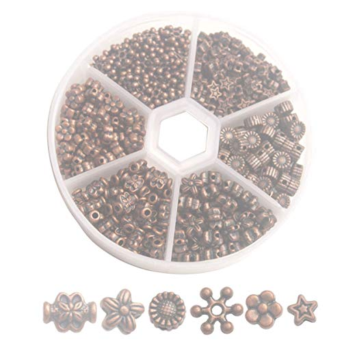 One Box of 330PCS Antiqued Copper Metal Daisy Flower Star Spacer Beads for Jewelry Making