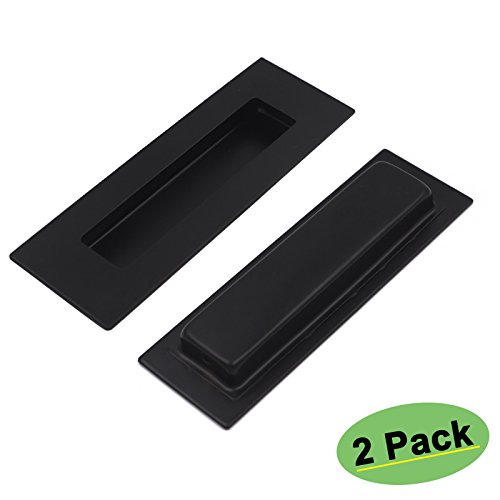 Pulls Black Flat Flush (Concealed Cabinet Pulls Stainless Steel - Homidy MC018BK 6in x 2in 2 Pack Rectangle Drawer Pulls Flat Black Sliding Cabinet Door Hardware Handles Pulls)