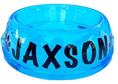 (Jeyfel Decals: Custom Name. Customized. Neon Clear Color Dog Cat Pet Food Bowl. Translucent Dish. (Blue, MD-2Cups))
