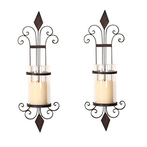 - ELEGAN Black Iron Wall Candle Holder Sconce (Set of 2)