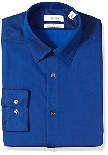 Calvin Klein Men's Dress Shirt Slim Fit Non Iron Herringbone, Slate Blue, 16.5