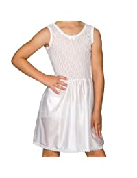 I.C. Collections Big Girls White Stretch Lace Slip, 8 - 14