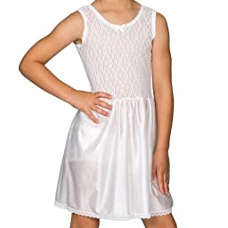 I.C. Collections Big Girls White Stretch Lace Slip, 16