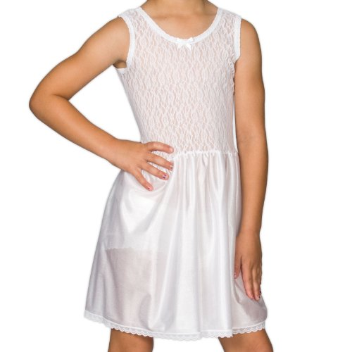 (I.C. Collections Big Girls White Stretch Lace Slip, 8)