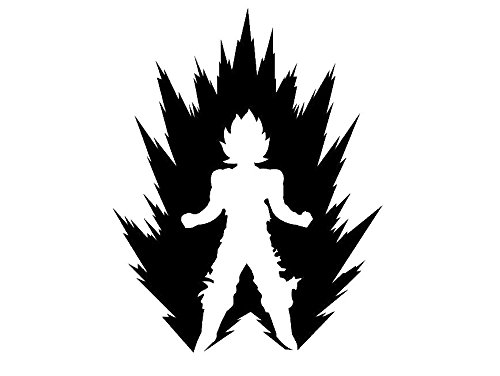 DBZ 5.5 Tall GOKU Power Up Silhouette Die Cut Decal Dragon Ball Sticker for Laptop Car Window Tablet Skateboard - BLACK