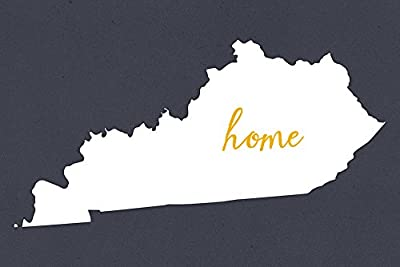 Kentucky - Home State - White on Gray (12x18 Collectible Art Print, Wall Decor Travel Poster)