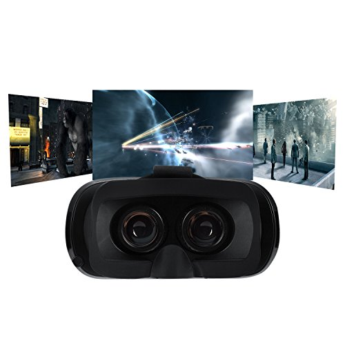FTLL VR Goggles Virtual Reality Headset Glasses VR Box for iphone 7/7 plus iPhone 5 5s 6/ 6s plus Samsung Galaxy S5/6/7/C5/7/A3/7/5/9 Edge Note 4/5/6/7 LG G5 for Android and IOS (Black)