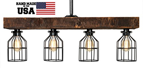 LIMITED SUPPLY - Farmhouse Style Reclaimed Wood Beam Rustic Decor Chandelier Light - Early 1900's Wood Hand Crafted in the USA (Reclaimed Wood) by Barrister & Joiner Lighting (Image #1)